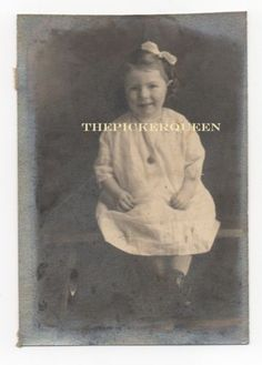 Antique Vintage Photograph~Little Girl~Young~Child~Portrait~White Dress~Bow