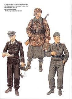 """Waffen SS - 10 Waffen SS Panzerdivision """"Frundberg"""" - 1 SS Brigadenfuehrer, 1944 - 2 SS Grenadier, 1943 - 3 SS Sturmgeshuetz, Abt 10, 1944"""