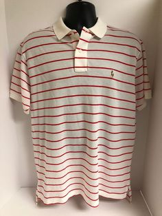 5a6d46991a Polo Ralph Lauren Pima Cotton Red White Striped Short Sleeve Golf Shirt  Mens LRG | eBay