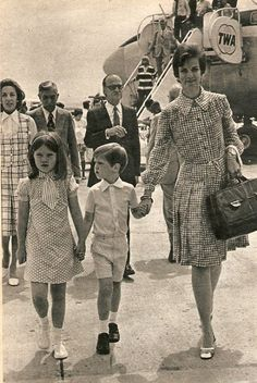 thegreekroyals:  Queen Anne-Marie with Princess Alexia and Crown Prince Pavlos.