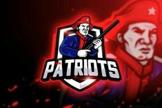 Ad: Patriots Gaming-Mascot & Esport Logo by AQR Studio on Introducing!, Patriots Gaming - Mascot & Esport Logo- Suitable for your personal or squad logo, All elements on this template are Stationery Templates, Print Templates, Design Templates, Hockey Logos, Sports Logos, Best Logo Design, Graphic Design, Great Logos, Game Logo
