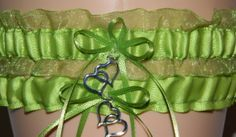 Apple Green Organza Wedding Garter, Bridal Garter Sets, Keepsake Garter, Prom Garter