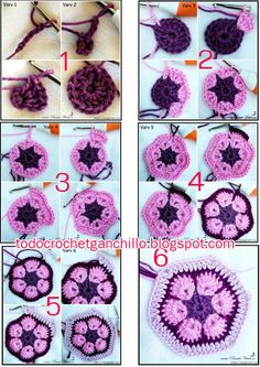Tina's handicraft : 18 tutorials for motifs square – Granny Square Crochet African Flowers, Crochet Leaves, Crochet Flower Patterns, Crochet Patterns For Beginners, Crochet Designs, Crochet Flowers, Crochet Motifs, Crochet Blocks, Granny Square Crochet Pattern