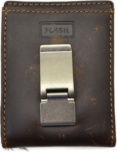 Fossil Mens Leather Money clip  Sam Id Bifold Color Brown #Fossil #Bifold