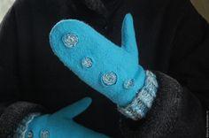 Купить Варежки бирюзовые, валяные варежки, войлочные рукавички - бирюзовый, абстрактный, варежки, рукавички