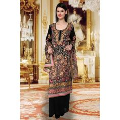 Designer Carbon Black Full Embroidered Georgette Suit