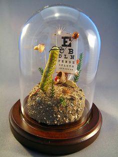 caterpillar having an eye exam insect diorama-- lisa wood Glass Bell Jar, The Bell Jar, Glass Domes, Bell Jars, Mason Jar Art, Mason Jar Crafts, Collage Making, Insect Art, Bottle Painting