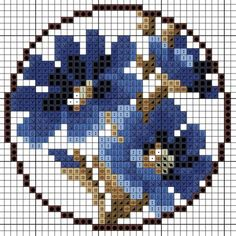 Blue flower Forget-me-not charted design Small Cross Stitch, Cross Stitch Cards, Cross Stitch Flowers, Cross Stitching, Cross Stitch Embroidery, Embroidery Patterns, Funny Cross Stitch Patterns, Cross Stitch Designs, Beads