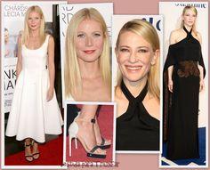 Estrenando sus últimas películas, Gwyneth Paltrow de blanco en LA y Cate Blanchett de negro en Londres