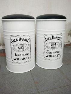 Conjunto de banquetas de tambor 60 cm com estofado, Jack Daniels