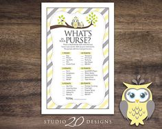 Instant Download Yellow Owl What's In Your by Studio20Designs