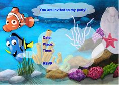 Finding Nemo Birthday Invitations Ideas for Andrew Birthday Party Invitations Free, Birthday Invitation Templates, Invitation Ideas, 3rd Birthday Parties, Birthday Ideas, Free Birthday, Third Birthday, Party Ideas, Theme Ideas