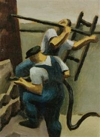 Construction Workers Artwork By Thomas Hart Benton Oil Painting & Art Prints On Canvas For Sale Oil Painting On Paper, Painting & Drawing, Wall Art Designs, Artwork Design, Artwork Ideas, Art Ideas, Industrial Wall Art, Construction Worker, American Artists