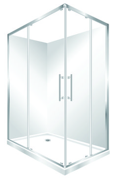 Features left hand version, One piece acrylic lining. Low profile tray with 40mm upstand Tray is Centre Waste as standard but also available in Corner Waste. 1950mm high glass 6mm safety glass. Large interior Space, corner sliding doors Minimalist modern style Available in Silva, White or Black