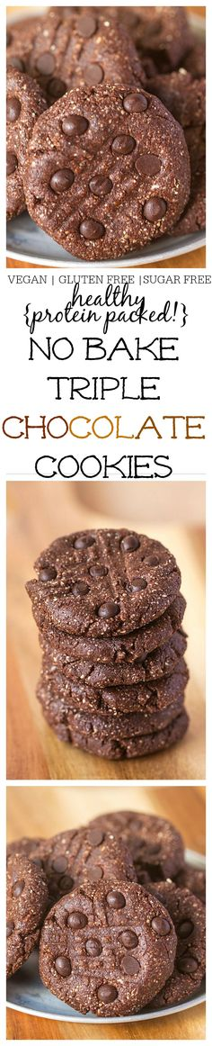 Healthy No Bake Triple Chocolate {Protein Packed!} Cookies- Ready in 10 minutes FLAT! @thebigmansworld - thebigmansworld.com