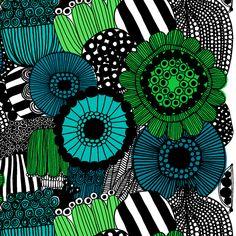 Another Marimekko pattern - I LOVE them ALL! Siirtolapuutarha cotton fabric by Marimekko Art Design, Textile Design, Fabric Design, Textures Patterns, Fabric Patterns, Print Patterns, Floral Patterns, Green Tablecloth, Oilcloth Tablecloth