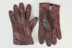 Etienne Aigner Vintage Leather Oxblood Driving Gloves Size 8 from Italy - $42