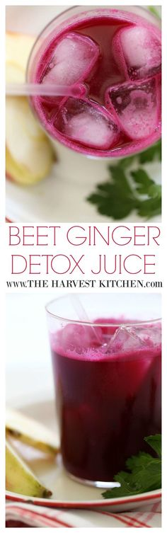 Juicing is a great way to incorporate fruits and vegetables into your diet. This delicious Beet Ginger Detox Juice will nourish your body and help rid it of toxins. Personally, it's my favorite juice blend! @theharvestkitchen.com