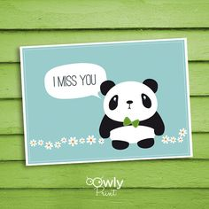 Printable Panda I miss you Card blue. Ready to print by Owlyprint