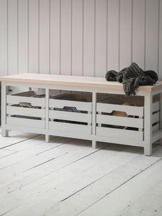 Emsworth Storage Bench with Three Chalk Crates