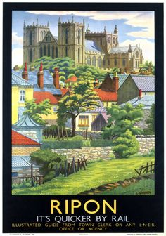 Poster produced for London and North Eastern Railway (LNER) to promote rail travel to the ancient cathedral city of Ripon cm) Fine Art Print Framed, Poster, Canvas Prints, Puzzles, Photo Gifts and Wall Art Posters Uk, Train Posters, Railway Posters, Vintage Travel Posters, Vintage Postcards, Black Framed Art, Framed Art Prints, Ripon Cathedral, Cathedral City