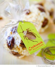 """ewwwww!!! How fantastically nasty are these?!? heehee... the kids would go crazy over these! Popcorn balls with pecans or """"cockroach clusters""""! (Save this idea for your bug themed party, as well!) Source and tutorial"""