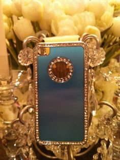 Blue metal and Rhinestone IPhone 4 case by GlitzGlamourandBling, $10.00