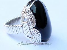 Silver Filled, Mans, Wire Wrapped, Black Onyx, Large Cabochon Ring, Pharaoh Setting UK Size S £38