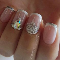 """Explore our internet site for even more info on """"acrylic nail art designs ring finger"""". It is an excellent place for more information. Acrylic Nails Natural, Almond Acrylic Nails, Acrylic Nail Art, Fancy Nails, Love Nails, Trendy Nails, My Nails, Indian Nails, Bride Nails"""