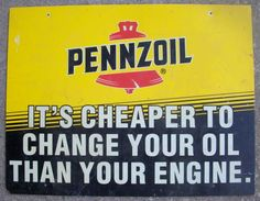 Pennzoil double-sided sign - $25