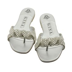 Aisha Silver Metallic Swarovski Sandals | Gina Shoes had for over 8 years LOVE THEM -Gina re-sole for free