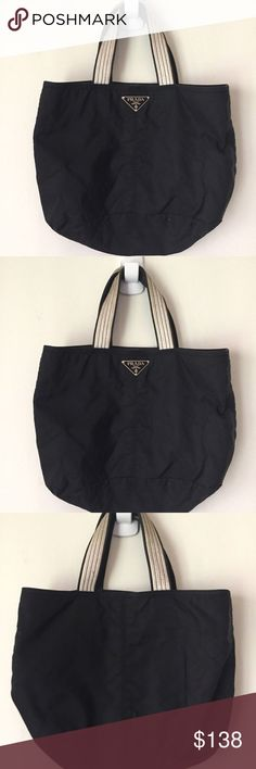 9f1862283f PRADA Large Black Tote Bag With White Leather Trim Hi this is is a great  chance