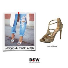 Weekend Style Inspo: Go casual-chic this weekend with ripped boyfriend jeans and snakeskin heels. http://www.dswshoe.com.au/Catalogue?styleID=12732&Colour=Snake+Print+Pu