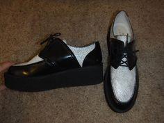 SANDRO Paris Aresenal TWO TONE Creepers Platform Oxford Loafers Black & White 39 #SandroParis #Platformoxfordloafers