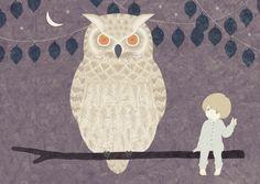owl and boy by Hazuki Koike