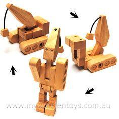 Wooden Crane Robot Transformer