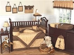 Camel Paisley 9 Piece Crib Bedding Set