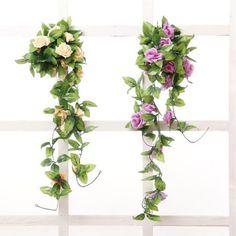 8Ft-Artificial-Fake-Silk-Rose-Flower-Ivy-Vine-Hanging-Garland-Wedding-Home-Decor