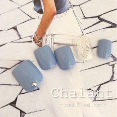 ブルーグレー×foot nail ・ ・ 【 ご予約・お問い合わせ 】 kato yukari 0422-27-6367… Feet Nail Design, Toe Nail Designs, Feet Nails, Toenails, Manicure Y Pedicure, Oval Nails, Toe Nail Art, Trendy Nails, Nails Inspiration
