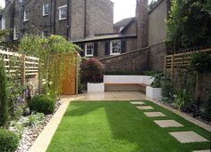 This modern garden design in islington, north london combines contemporary light limestone paving with a spacious lawn. a patio walkway steps up to the Back Garden Design, Modern Garden Design, Contemporary Garden, Back Garden Landscaping, Backyard Patio Designs, Landscaping Plants, Back Gardens, Small Gardens, Low Maintenance Garden