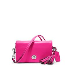 Survive the rest of Winter and turn heads this Spring and Summer with Coach's stunning Legacy Penny Shoulder Purse in this gorgeous pink.  Inspired by a charmingly compact Coach design from the 1970s, the Penny is classic Coach distilled to it purest, glove-tanned leather form, a simple, efficient little crossbody that secures essentials with an iconic turn-lock.  Style 19914.