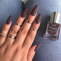 30 manicure ideas that will make you mad for matte mattenails matte manicure ideas popsugar beauty photo 2 naked dark glittering accent fingernagel matte shiny acrylic collar lange nagelideen nageldesign Acrylic Nails Coffin Short, Matte Acrylic Nails, Acrylic Nail Designs, Acrylic Nails For Fall, Matte Nail Colors, Matte Nail Polish, Gorgeous Nails, Pretty Nails, Fun Nails