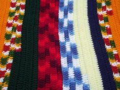 funky stripes retro patchwork scrap yarn crochet afghan, 70s 80s vintage