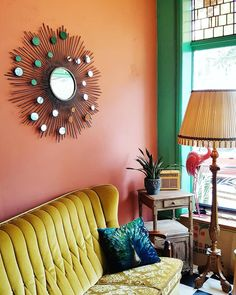 Living Room Color Trends: A Touch Of Yellow For Summer Peach Living Rooms, Yellow Walls Living Room, Living Room Decor Orange, Living Room Drapes, Retro Living Rooms, Colourful Living Room, Bedroom Wall Colors, Living Room Colors, Living Room Paint