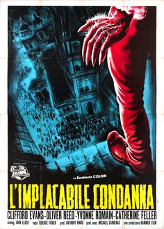 Great colour and atmosphere in this poster for CURSE OF THE WEREWOLF (1961) based on the film's conclusion.