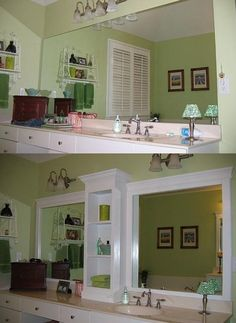 27 Easy Remodeling Projects Add molding (and shelves?) to an otherwise boring bathroom mirror. {Good idea for MB} -- 27 Easy Remodeling Projects That Will Completely Transform Your Home Large Bathroom Mirrors, Large Bathrooms, Framed Mirrors, Master Bathroom, Design Bathroom, Bathroom Mirror Makeover, Redo Mirror, Bathroom Interior, Modern Bathroom