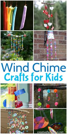 Decorate your outdoor spaces with one of these beautiful and colorful Wind Chime Crafts for Kids. Many of these crafts use recycled materials and are easy to make. crafts for kids Wind Chime Crafts for Kids - Creative Family Fun Easy Arts And Crafts, Fun Crafts For Kids, Summer Crafts, Crafts To Do, Garden Crafts For Kids, Kids Outdoor Crafts, Art Crafts, Kids Fun, Outdoor Fun For Kids