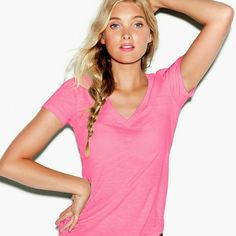 BOGO VS PINK Basic V-neck Tee..in pink! BUY ONE GET ONE HALF OFF.  Hot pink, airy cotton basic v-neck tee. Perfect staple to a beach-ready wardrobe. basically the same color, just slightly lighter than this  VS Pink runs large! I am a small, 4/6 in most other brands!  No major or noticeable flaws, normal wear. Not worn much. PINK Victoria's Secret Tops