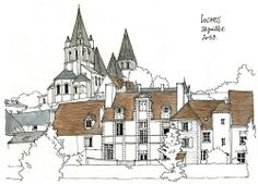 sketches of people Building Illustration, Illustration Sketches, Drawing Sketches, Watercolor Architecture, Art And Architecture, City Drawing, Building Sketch, Water Art, Sketch Painting