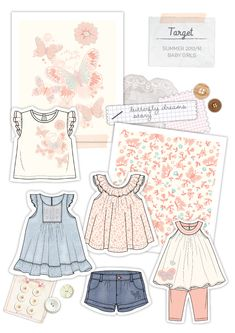 Design and develop garments and print for Target Babieswear department. Little Girl Dresses, Girls Dresses, T Shirt Sketch, Fashion Design Sketches, Kid Styles, Baby Patterns, Kids Wear, Pattern Fashion, Baby Dress
